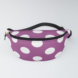 Violet (crayola) - violet - White Polka Dots - Pois Pattern Fanny Pack