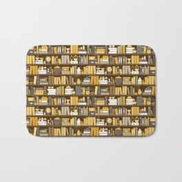 Book Case Pattern - Yellow Grey Bath Mat