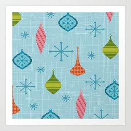 Mid Century Modern Christmas Ornaments Art Print