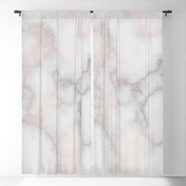 Elegant blush tones pink rose gold white marble Blackout Curtain