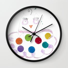 Mother Owl Colored Pencils Wall Clock