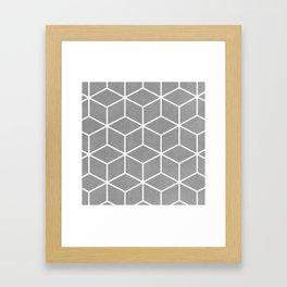 Light Grey and White - Geometric Textured Cube Design Framed Art Print