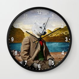 Mr. Wolf Relaxing at the Lake Wall Clock