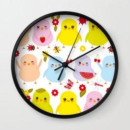 Kawaii colorful blue green orange pink yellow chick Wall Clock