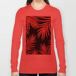 Palm Leaves Pattern Orange Vibes #1 #tropical #decor #art #society6 Long Sleeve T-shirt