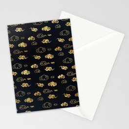 Black and Gold Asian Style Cloud Pattern Stationery Cards