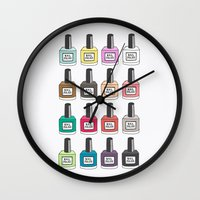 nail polish Wall Clocks featuring Nail Polish-holic by uzualsunday