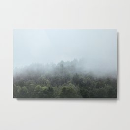 Foggy Forest Blue Mist in the Morning   Landscape Photography Metal Print