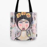 tina Tote Bags featuring La-Tina by Natalie Briney