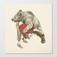 wrestling Canvas Prints featuring bear wrestling by themicromentalist