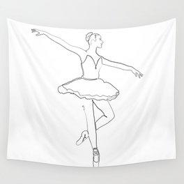 The Ballerina Line - Black & White Wall Tapestry
