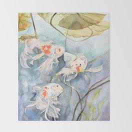 Koi Fish Painting, Underwater Water Lily Throw Blanket