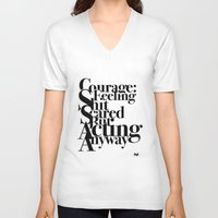 courage V-neck T-shirts featuring Courage by blugge