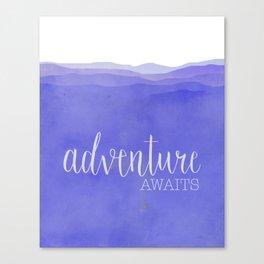 Adventure Awaits quote purple mountains landscape Canvas Print