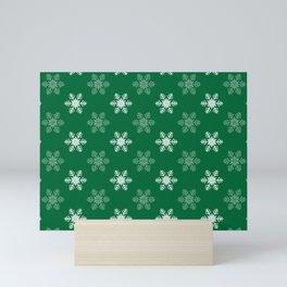 Snowflake Pattern | Winter | Hygge | Scandi | Green and White | Mini Art Print