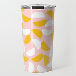 Semi Circles in Mustard and White Travel Mug