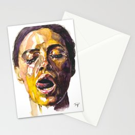 Watercolor painting of Monica Bellucci, Monica Stationery Cards