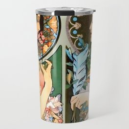 "Alphonse Mucha ""Primrose and Feather"" Travel Mug"