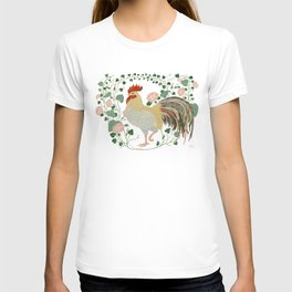 Rooster and morning glory T-shirt