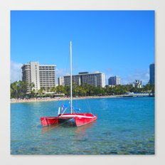 Oahu: Little Red Boat Canvas Print