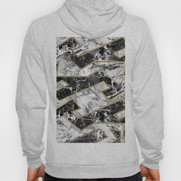 Abstract modern faux gold black white marble Hoody