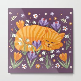 Sleepy Cat in a Spring Garden Metal Print