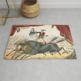 The Two Horse Act - Vintage Circus Art, 1873 Rug