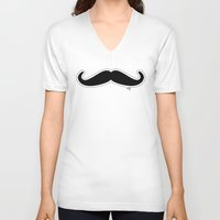 mustache V-neck T-shirts featuring Mustache by Macrobioticos