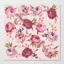 Blush Pink and Red Watercolor Floral Roses Canvas Print