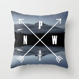 PNW Pacific Northwest Compass - Mt Hood Adventure Throw Pillow