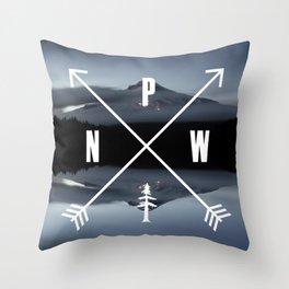PNW Pacific Northwest Compass - Mt Hood Adventure Throw Pillow