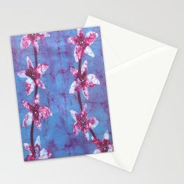Orchid flowers in Blue and Purple Stationery Cards