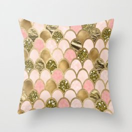 Rose gold blush mermaid scales Throw Pillow