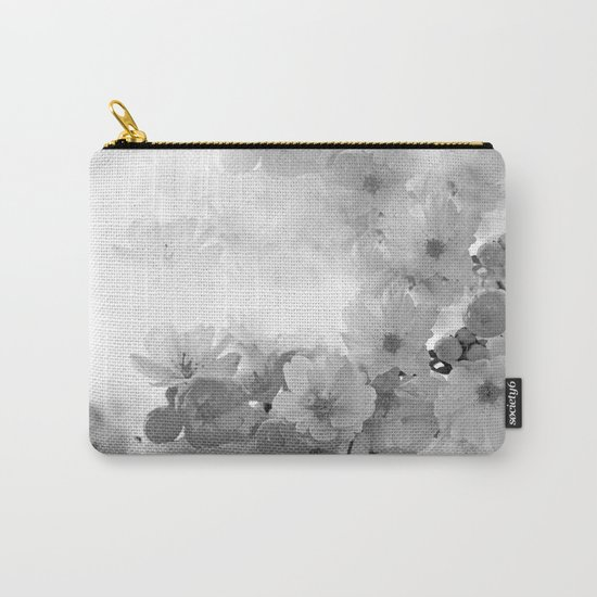 CHERRY BLOSSOMS GRAY AND WHITE Carry-All Pouch
