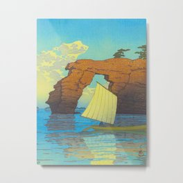 Kawase Hasui Natural Rock Arch w  Sailing Boat at Sea, Kawase Hasui, Japanese Woodblock Print  1937 Metal Print