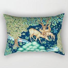 William Morris Deer by a Brook Tapestry Indigo Rectangular Pillow
