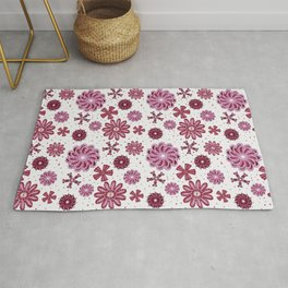 Pastel Purple Abstract Flower pattern Rug