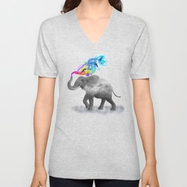 Colorful Smoky Clouded Elephant Unisex V-Neck