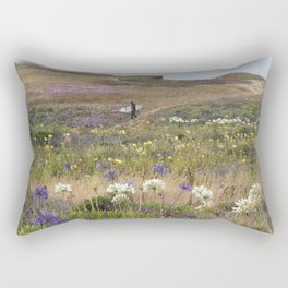 Surfer Walking to the Beach Through Field of Flowers Rectangular Pillow