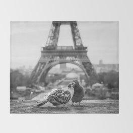 Love Birds (Black and White) Throw Blanket
