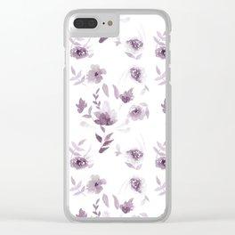 Violet Floral pattern Clear iPhone Case