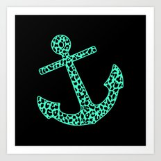 Mint Leopard Anchor Art Print