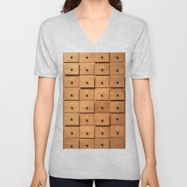 Wooden cabinet with drawers Unisex V-Neck