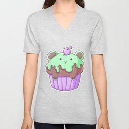 Muffin Cake Cherry Bear Children's Art Gift Unisex V-Neck
