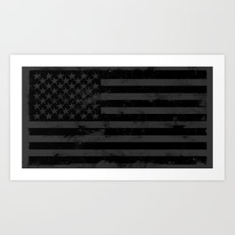 Black American Flag Art Print
