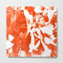 Orange Cactus Pattern Metal Print