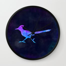 ROADRUNNER IN SPACE // Animal Graphic Art // Watercolor Canvas Painting // Modern Minimal Cute Wall Clock