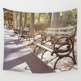 New York City Park Bench Moments Wall Tapestry