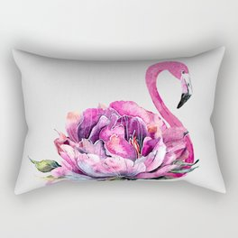 Flower Flamingo Rectangular Pillow