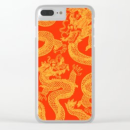 Red and Gold Battling Dragons Clear iPhone Case